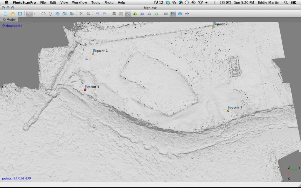Overhead view of a digital terrain model of Newark settlement mound created using low level aerial photography.