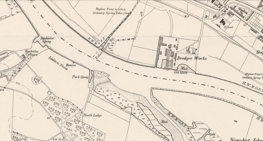 Second Edition Ordnance Survey map, showing the Dredger Works on the north bank of the Clyde