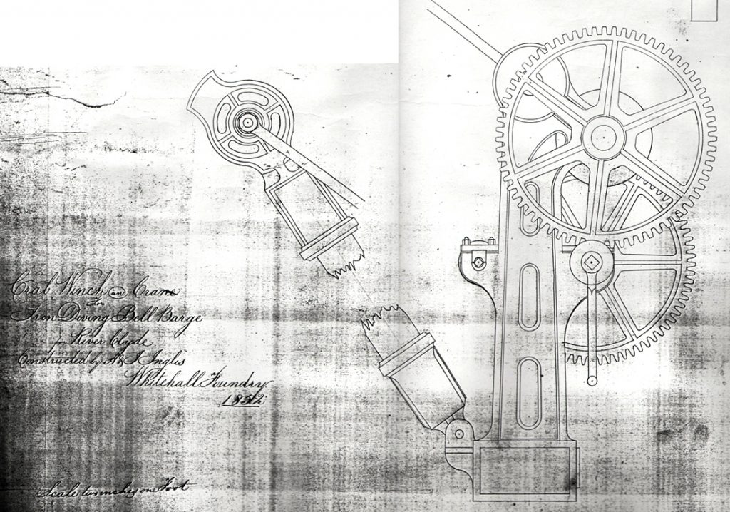 Drawing, dating to 1852, of a crane for the Diving Bell Barge