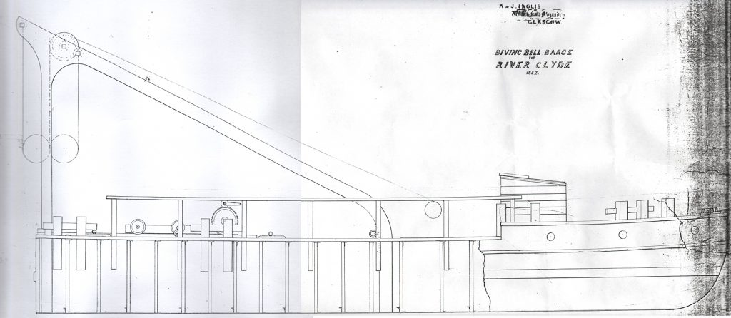 Elevation of a diving bell barge, drawn in 1852.
