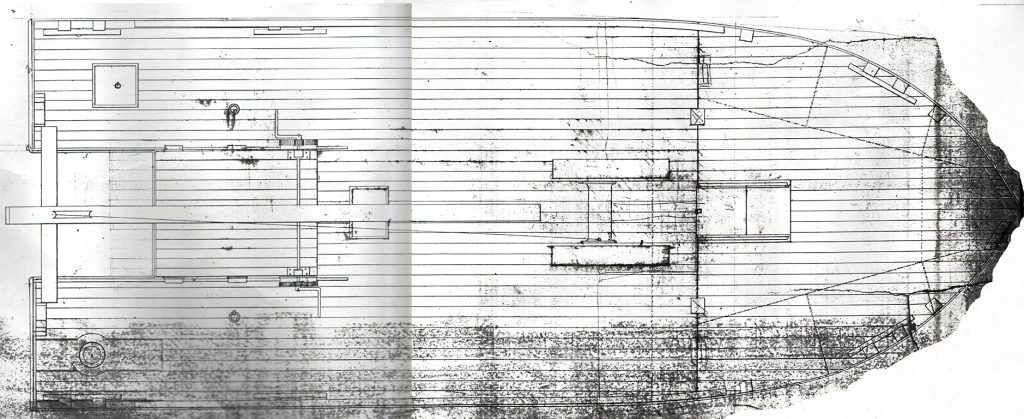 Drawn plan, dated to 1852, of the Diving Bell Barge