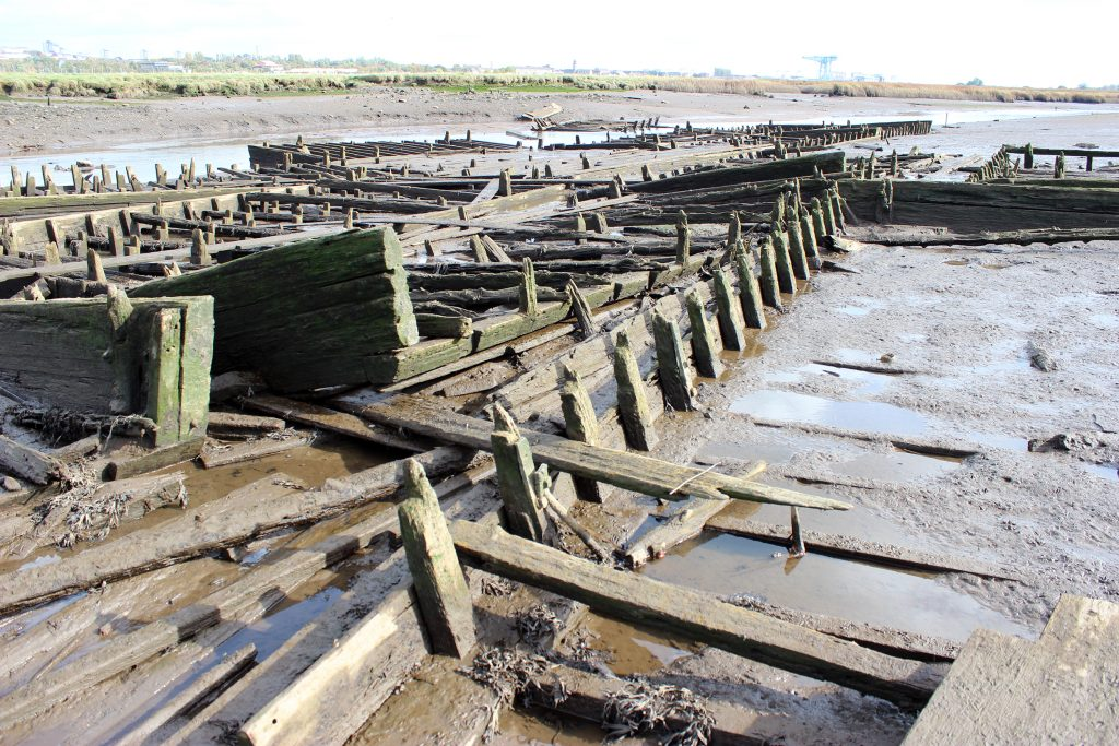The mud punts at Newshot are still in orderly rows, despite decades of being submerged by high tides.