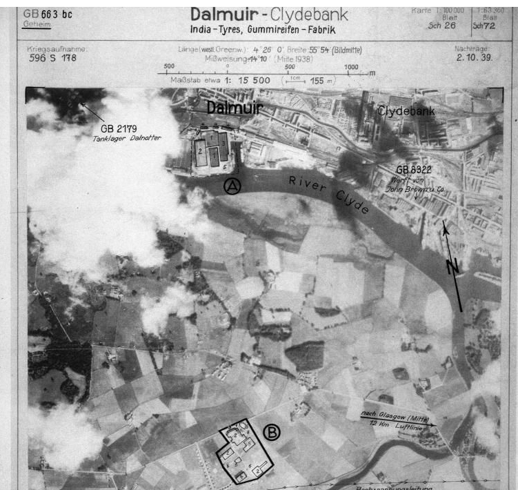 Luftwaffe aerial photograph showing targets close to Newshot Island