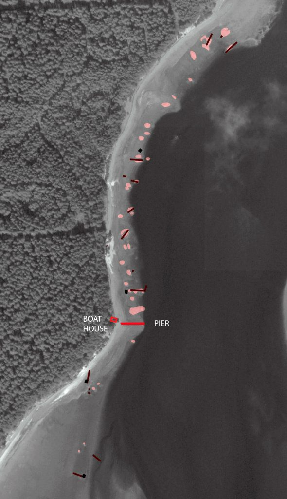 Survey showing scatter of wrecks along the Culbin side of Findhorn Bay