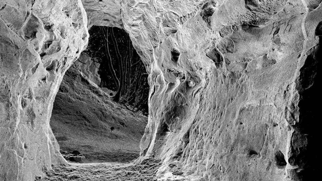 A mesh created from a point cloud of the Court Cave passage, looking towards the sea. Can you see the figure knowm as Thor with his symbol in the foreground towards the top right of the passsageway wall?