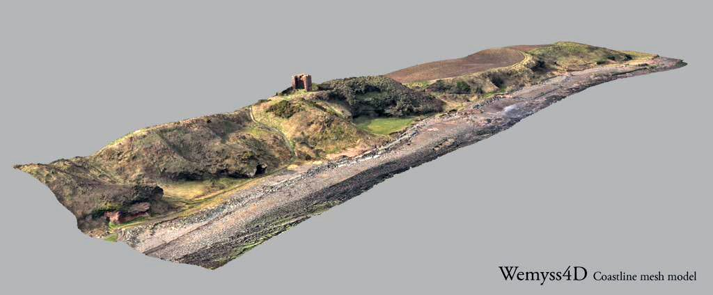 The first draft of the 3D model of the entire coast edge from Court Cave to the Gasworks. Created from the scan data and Eddies aerial photographs.