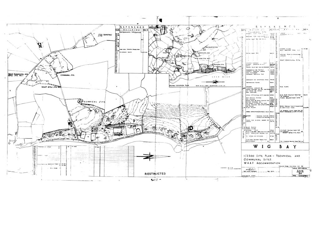 A line drawn map of a short stretch of coast, showing a series of buildings and a key describing their function