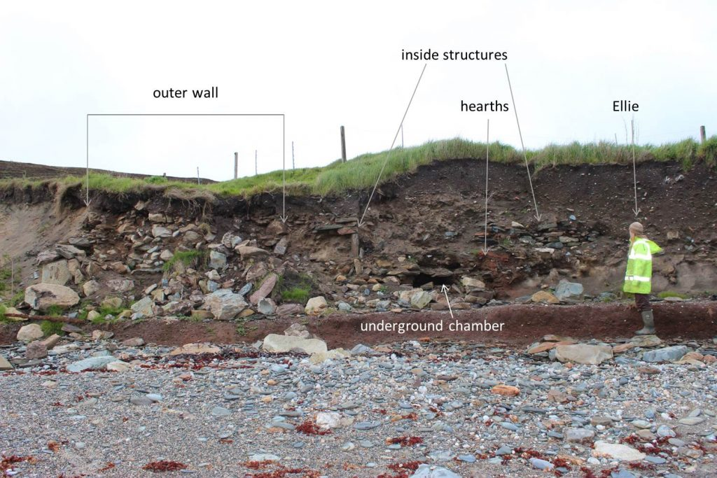 A possible broch at Channerwick, mainland Shetland. The outer wall is over 4m thick. You can see internal walls, bright orange peat ash of fireplaces - and an underground chamber.