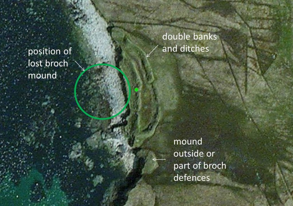Aerial view of Sna Broch on Fetlar, Shetland. Compare this with the aerial view of the broch of Gurness to see what may have been lost.