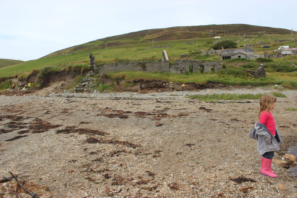 The 19th chapel or meeting house, with the broch around the corner. The gable end is collapsing down the coastal slope.