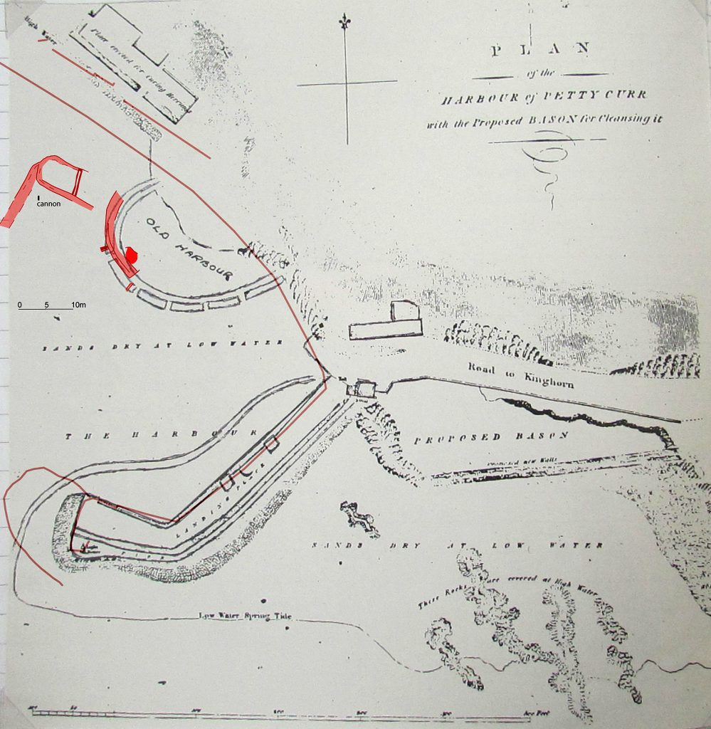 An old hand-drawn map labelled 'plan of the harbour of Pettycurr with the proposed basin for cleansing it' also showing a semi-circular structure labelled 'old harbour' with a stretch of the old harbour wall overlain in red