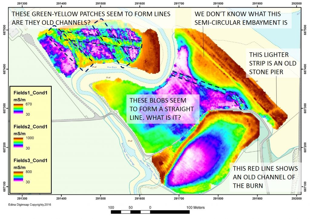 The results of the geophysical survey showing some potentially interesting features.