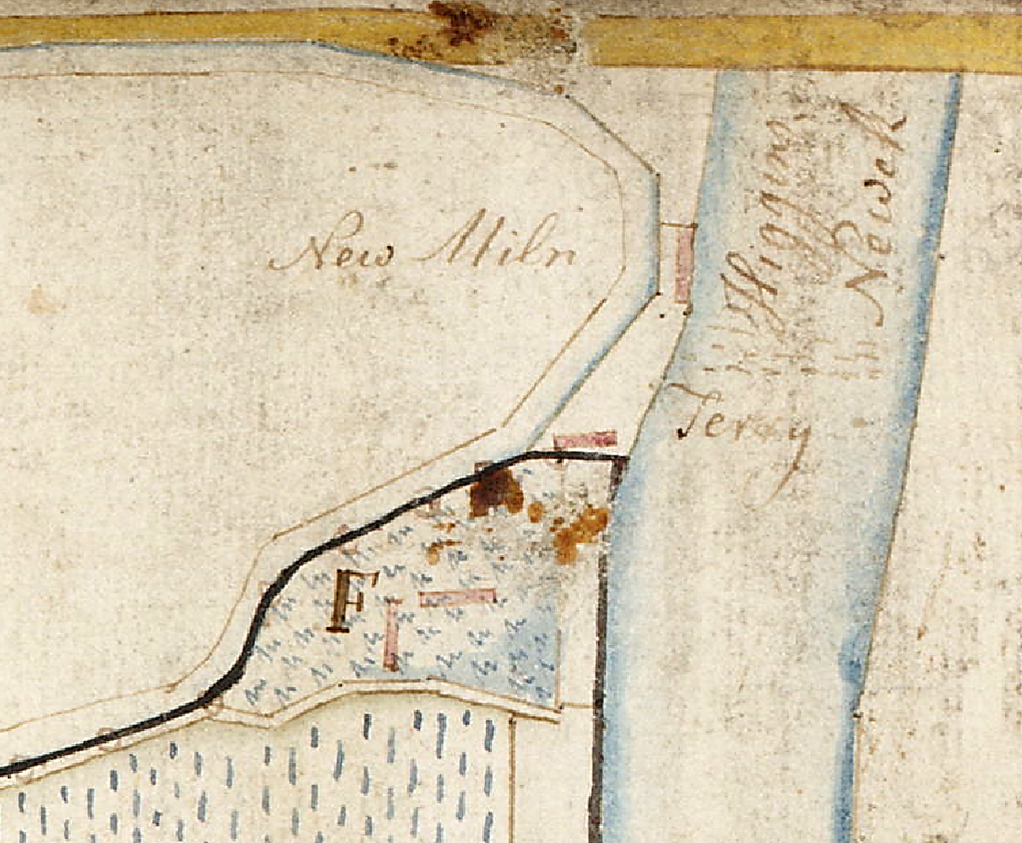 Detail from estate plan, Haughs of Airth, 1784, showing the old loop of the Pow Burn and buildings associated with the ferry at Higgins Newek (reproduced with teh permission of the national map Library of Scotland).