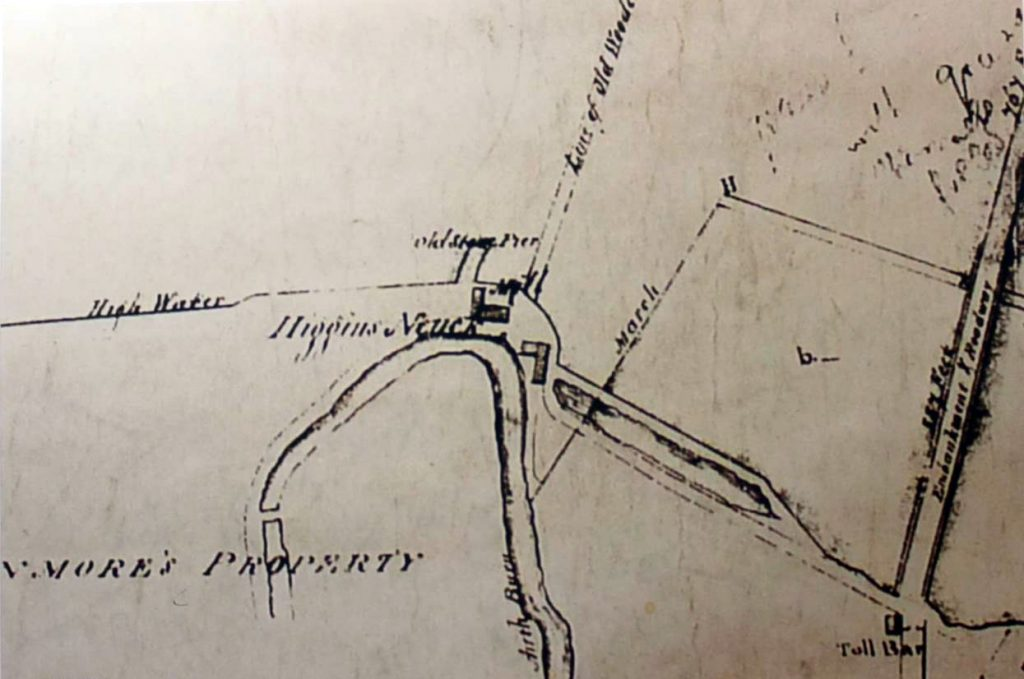 Detail from an estate plan of 1828, showing more detail including the 'Old Stone Pier'.