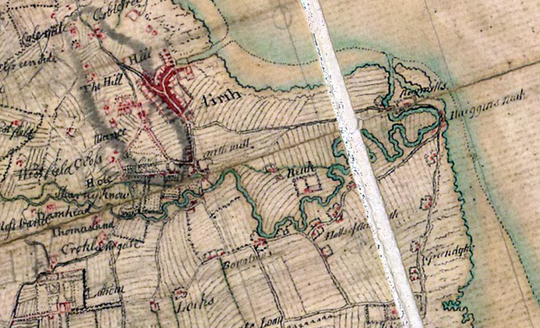 General Roy's Military Survey of Scotland (1747-55), showing the site labelled 'Newmills' and 'Haiggins Neuk' (Reproduced with the permission of the National Library of Scotland).