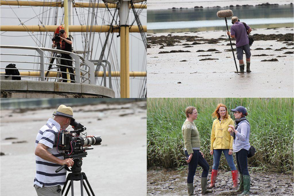 The film crew - Assistant camera Rob,Peteon sound, director Catherine withTori and Charlotte,lead camera Seamus