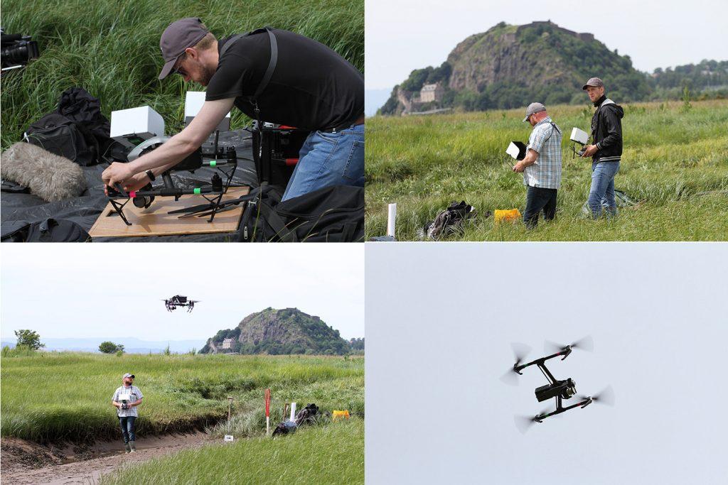 The Ka-Boom team flying the drone