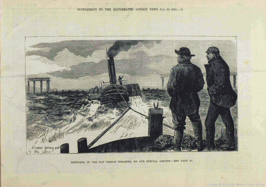 Engraving showing two men on the deck of a ship, towing an engine with the collapsed bridge in the background