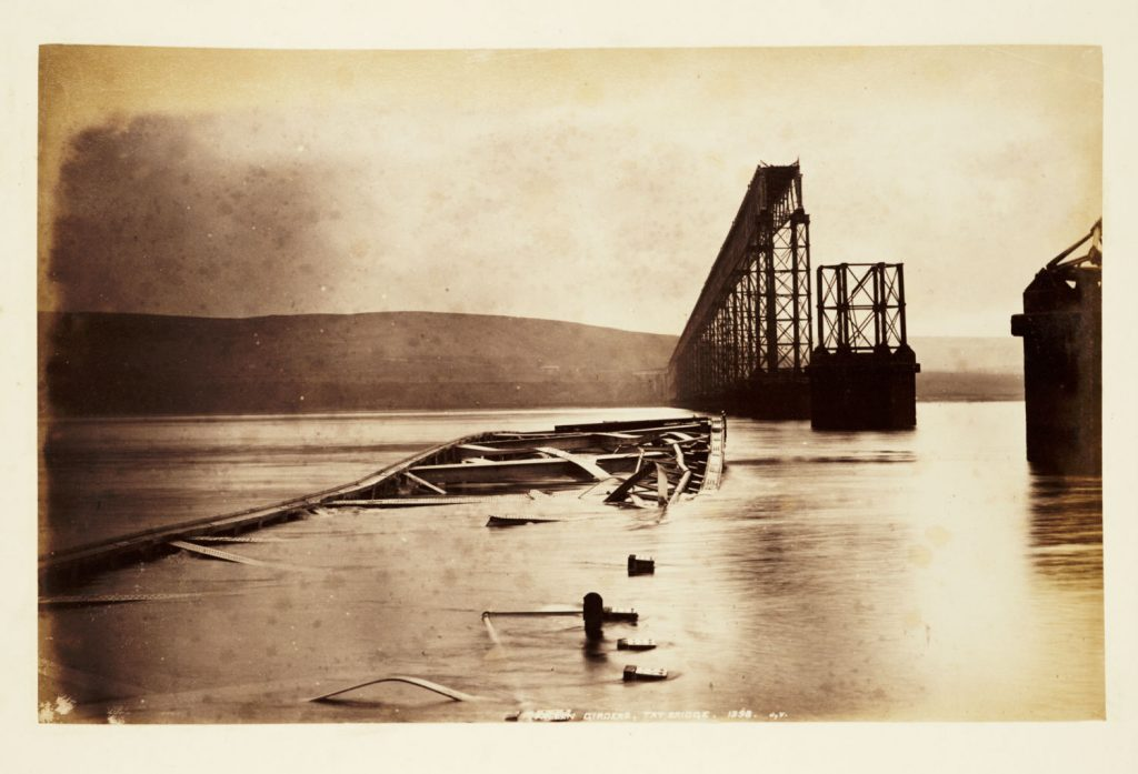 The collapsed girders of the Tay Bridge in the river