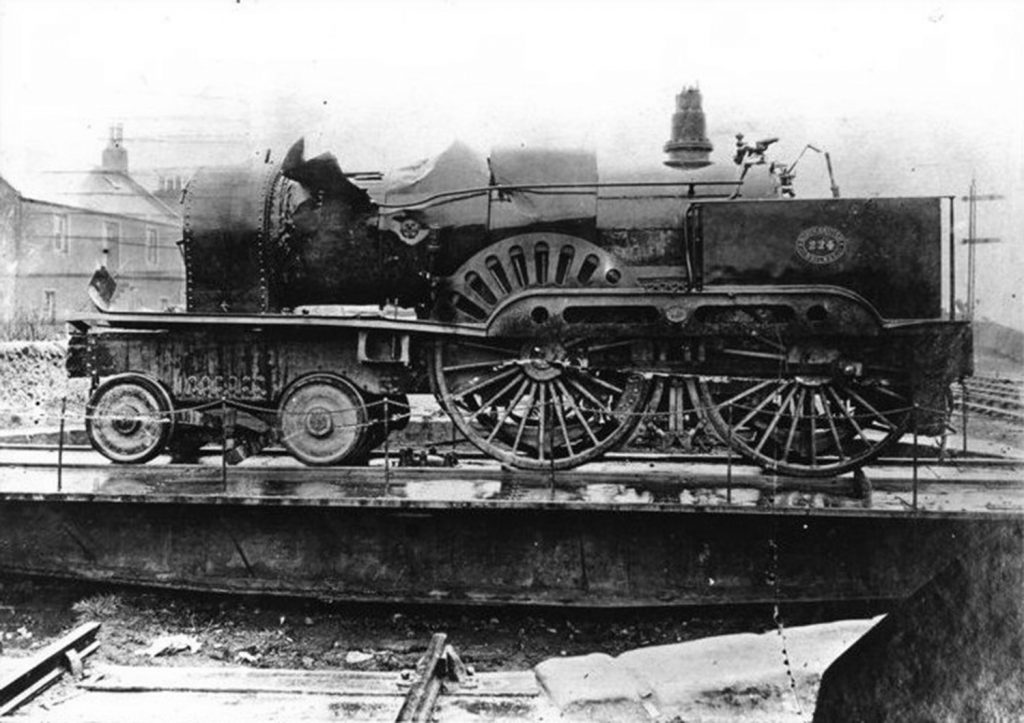 Steam engine from the train, with visible damage