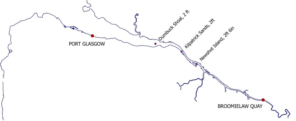Map of the River Clyde showing Port Glasgow and Broomielaw Quay with three shallow stretches labelled