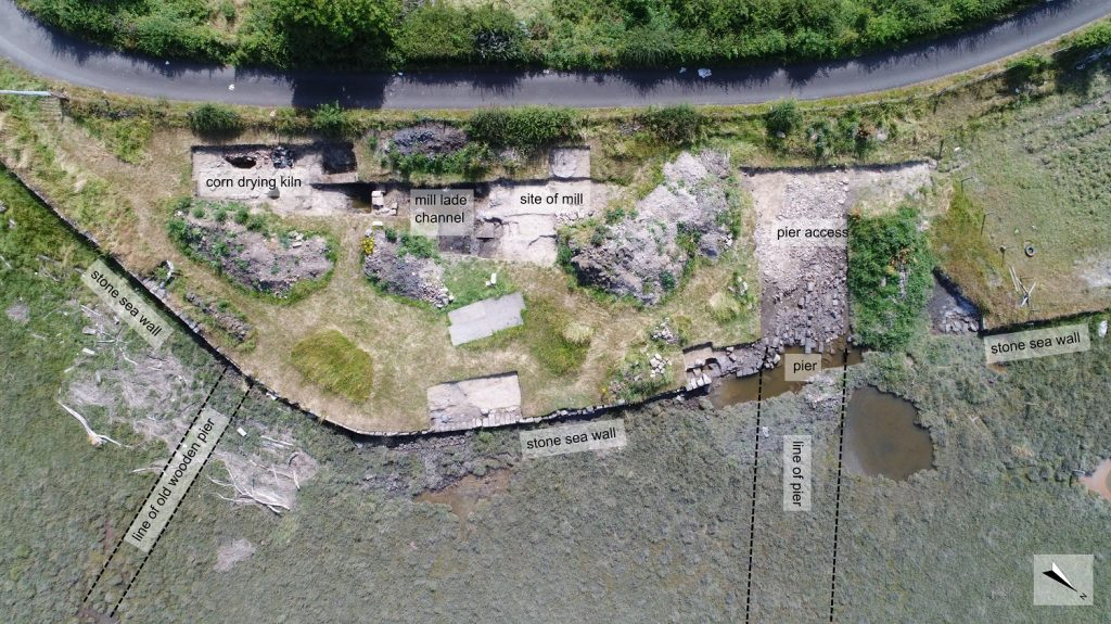 A vertical overhead view of an archaeological trench showing several features