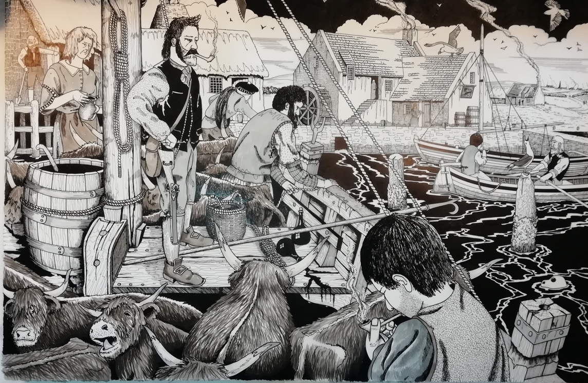 A reconstruction drawing of a boat near a stone pier, full of highland cattle, with a watermill in the background