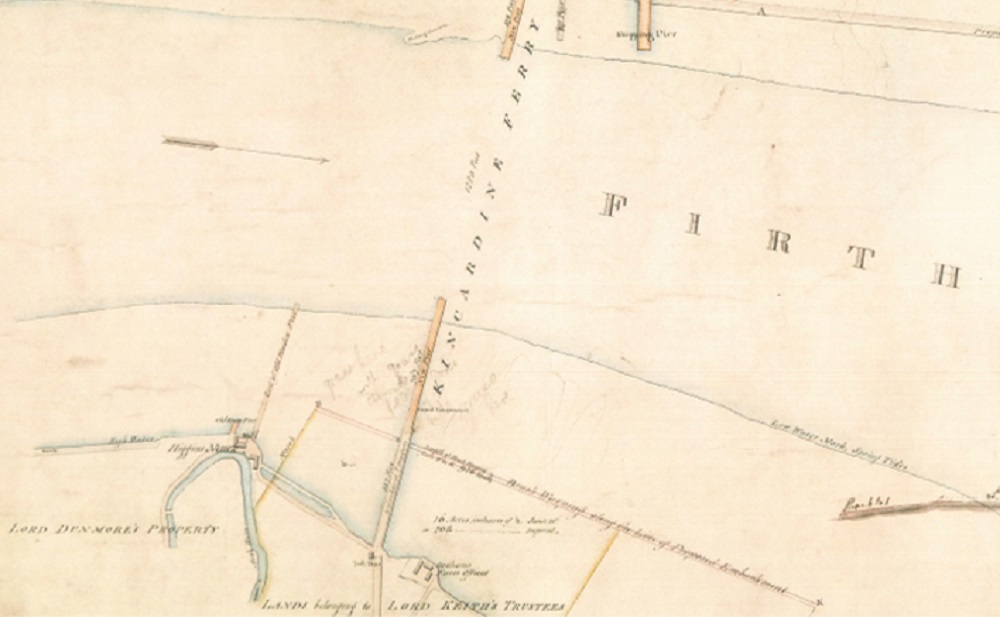 1828 map showing the old piers at Higgins Neuk and the Kincardine Ferry to the east