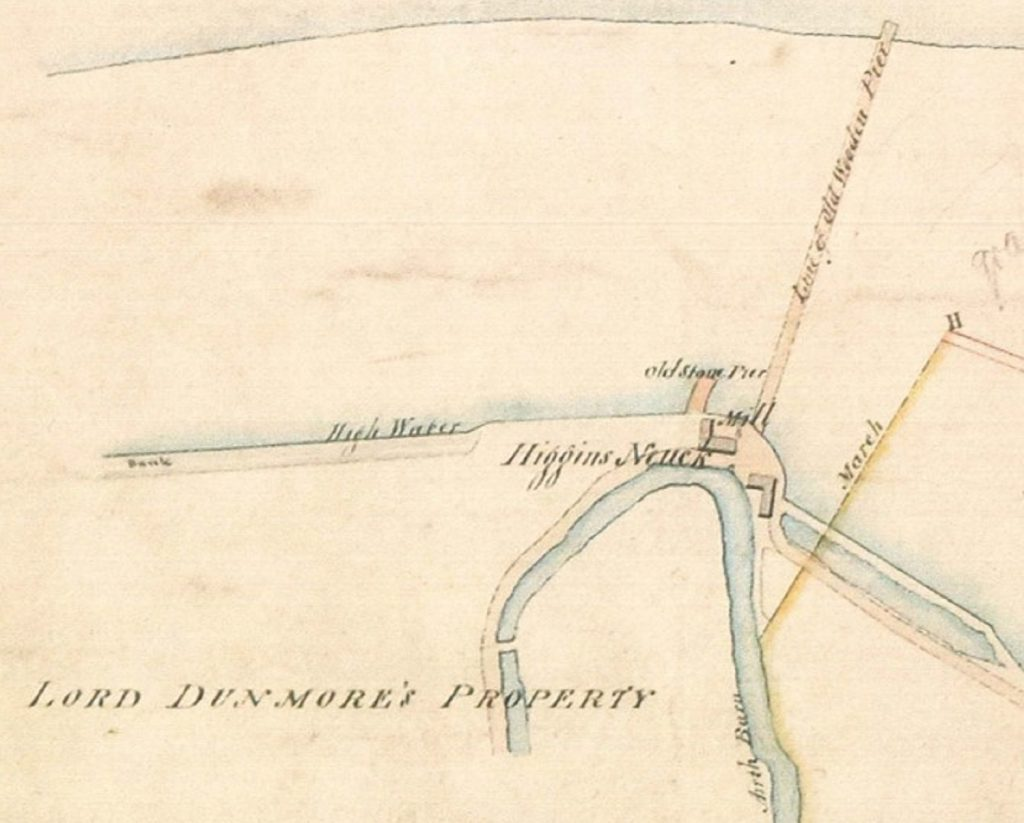 1828 map which shows two buildings, two old piers and a watercourse, named 'Higgins Neuk'