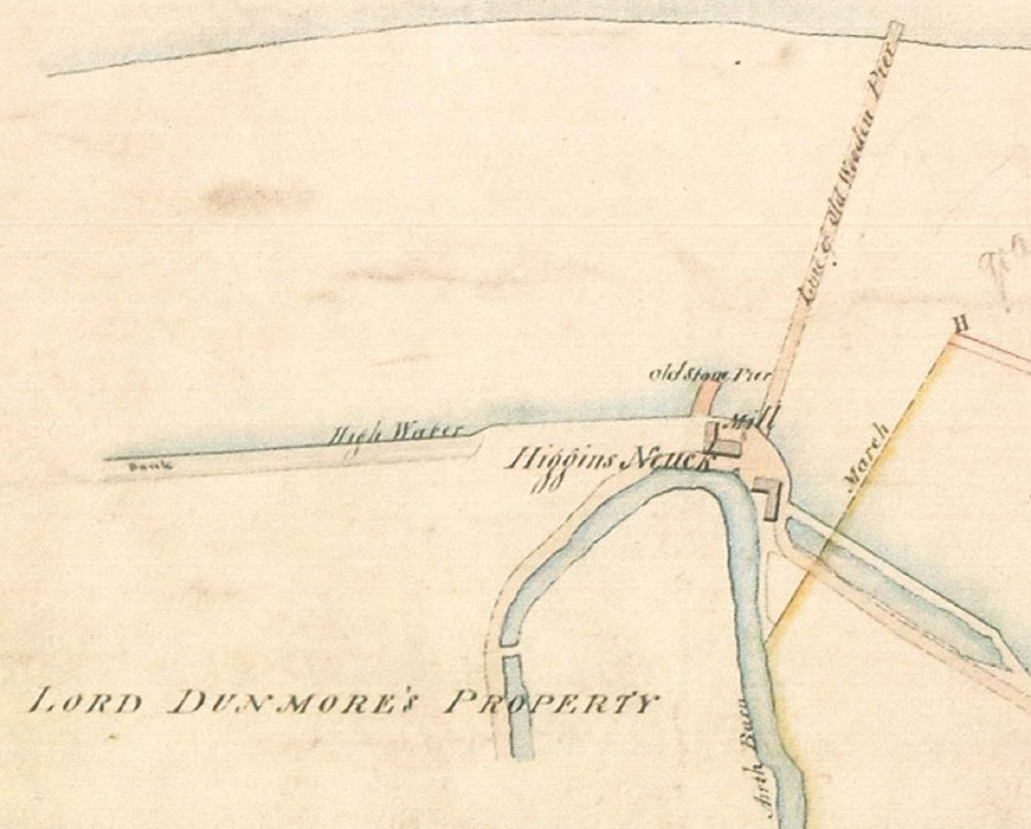 1828 map which shows two buildings, two old piers and a watercourse