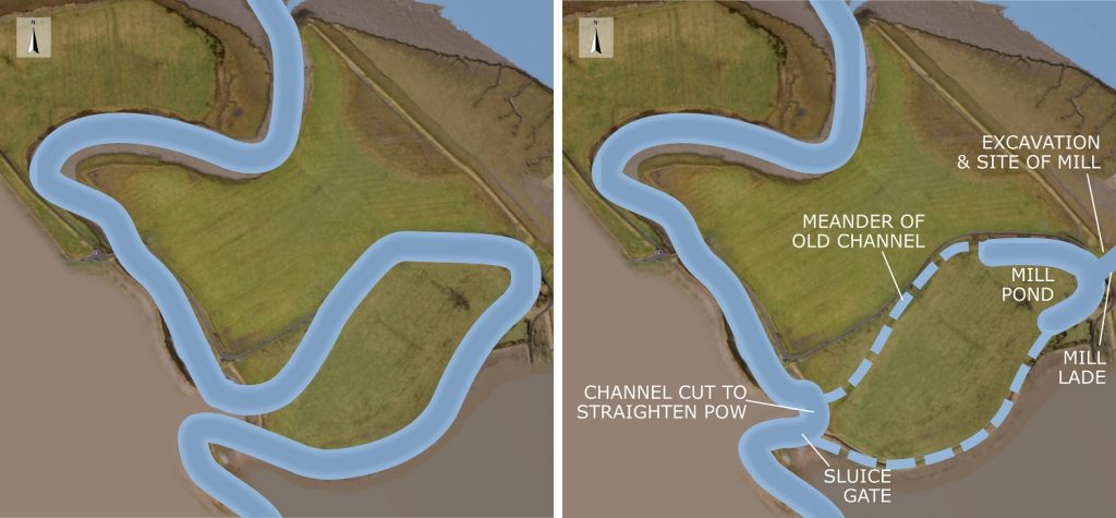 The original course of the Pow Burn (left) and its engineered course for the mills (right). Side-by-side overhead views of land on a riverfront showing how the course of a stream has been changed