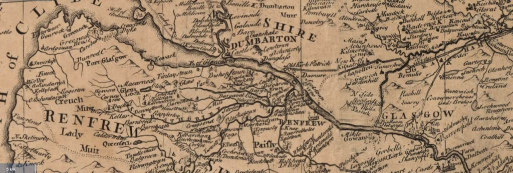 James Dorret's 1750 map of the Clyde