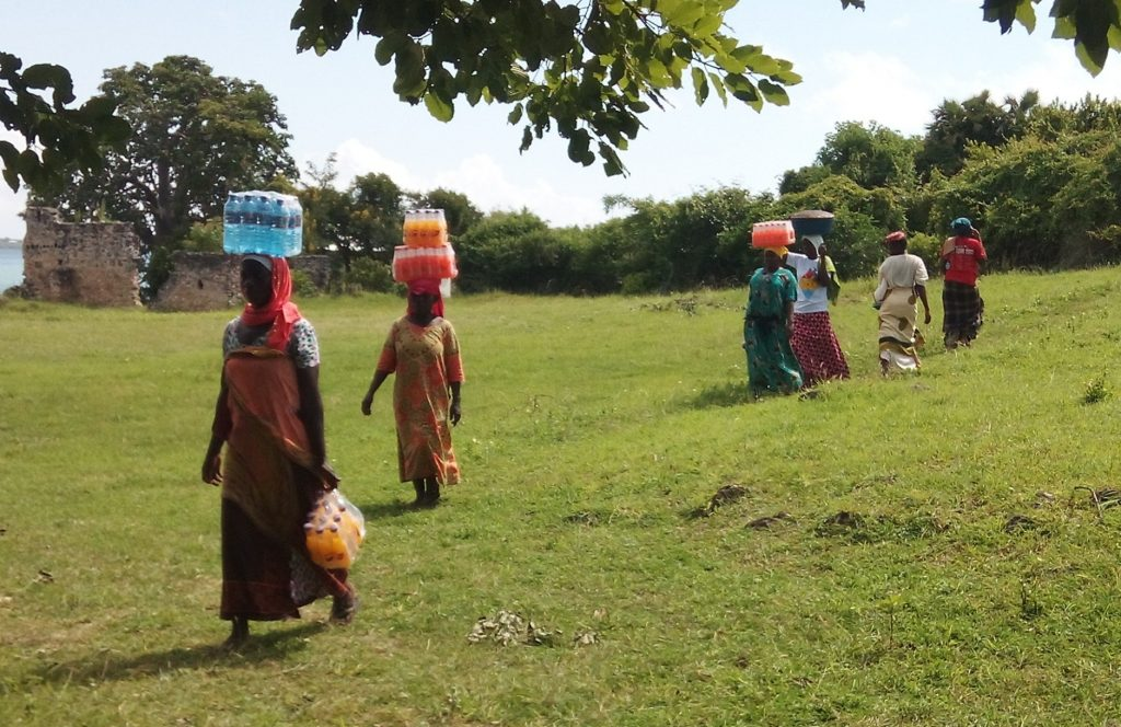 A line of brightly dressed women cross a grassy area to a tree carrying bundles of water bottles and large pots on their heads.