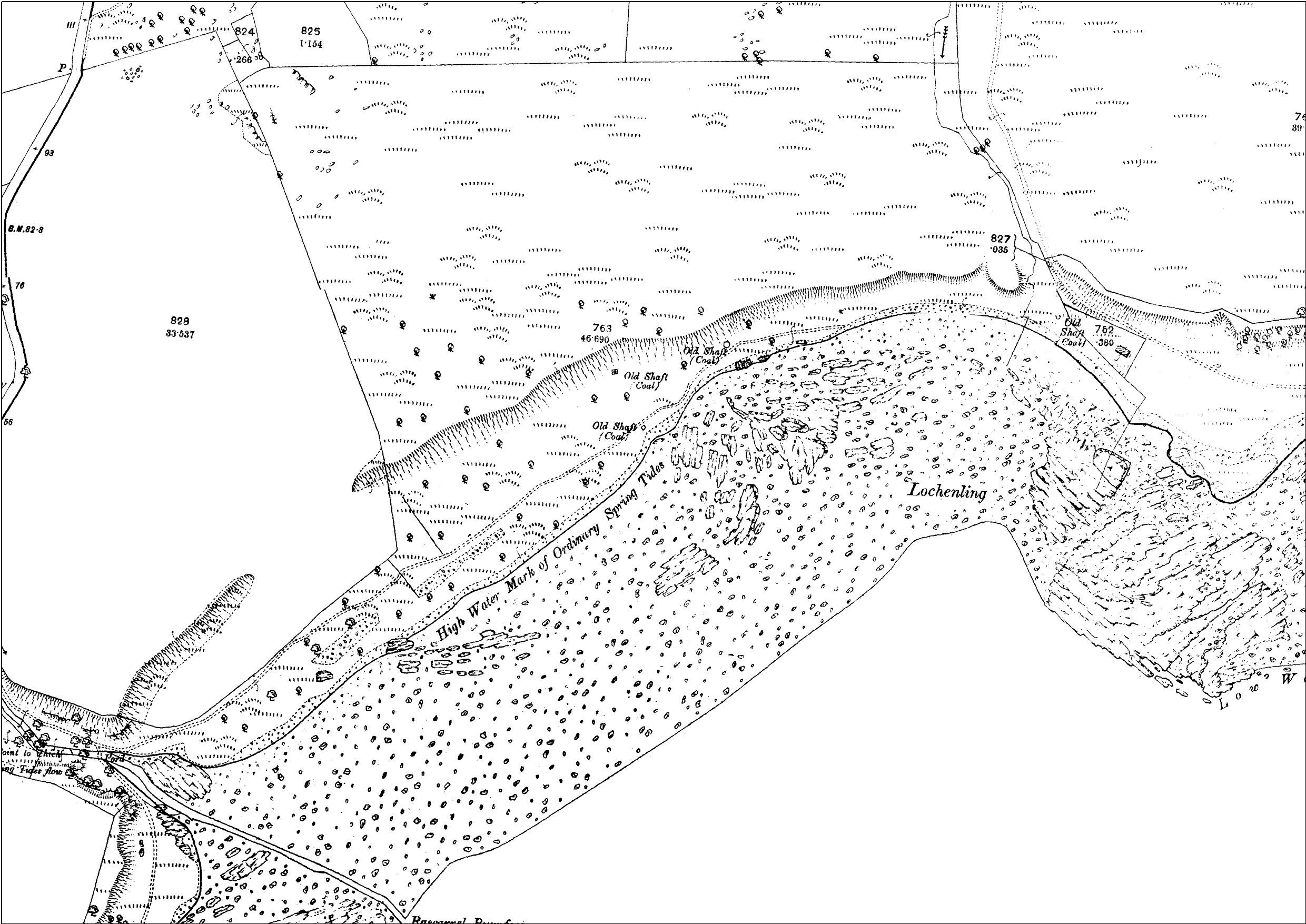 A historic map of the area between Rascarrel Burn and Airds Burn showing several 'Old Coal Shafts'
