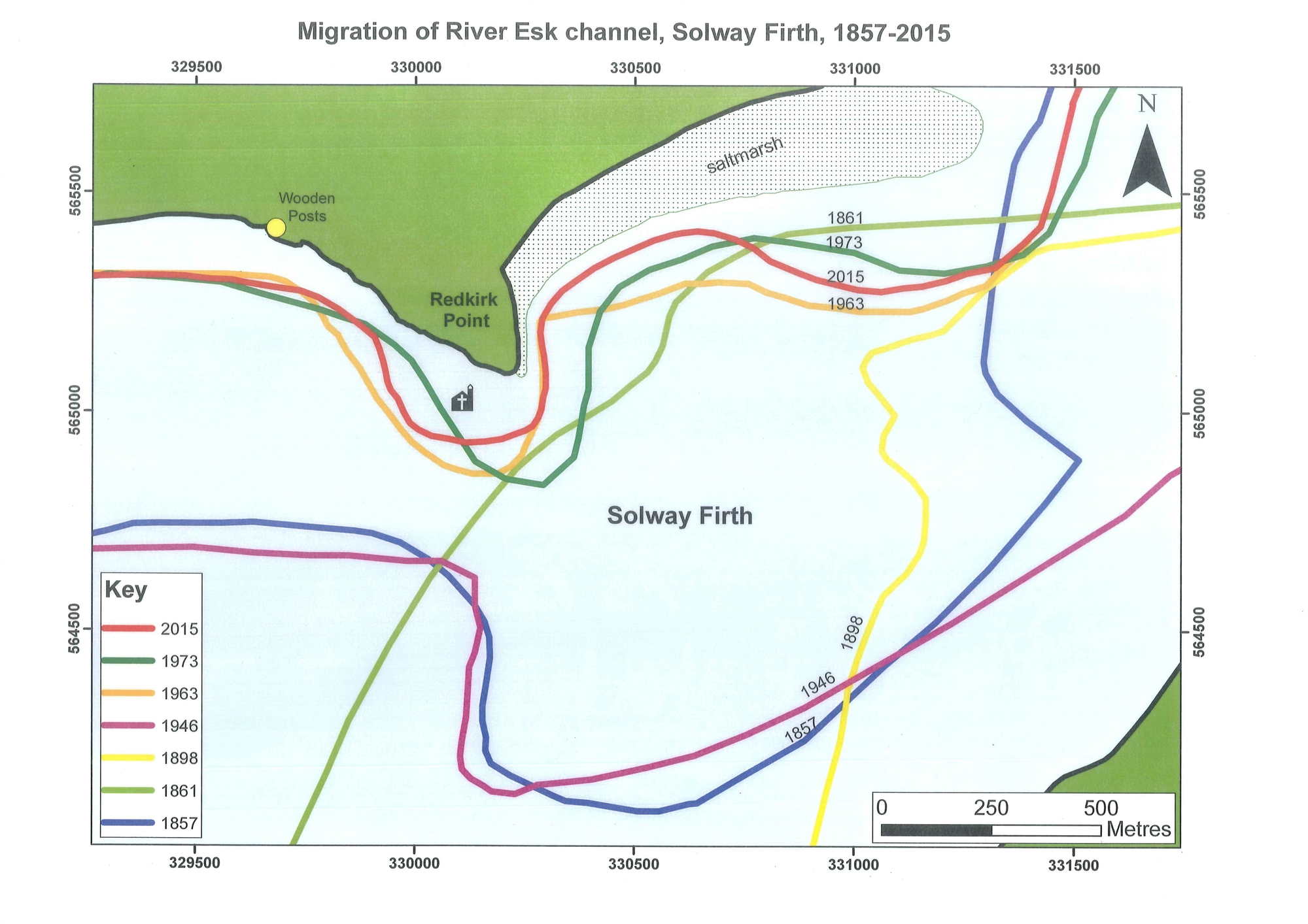 A map of the Solway Firth at Redkirk point showing the different lines the channel has followed from 2015 going back to 1857
