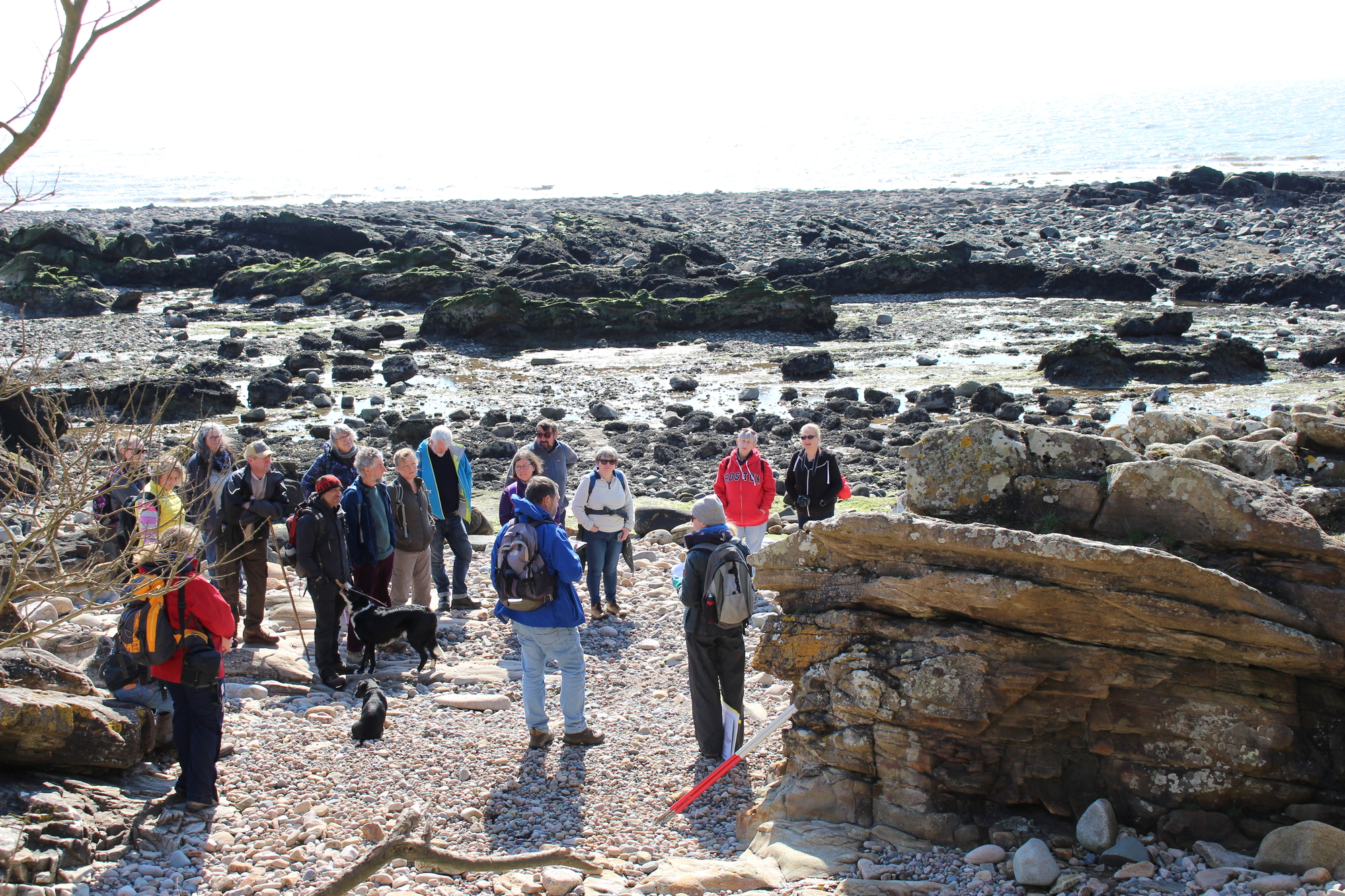 A large group of people standing talking on a rocky beach with the sea in the background