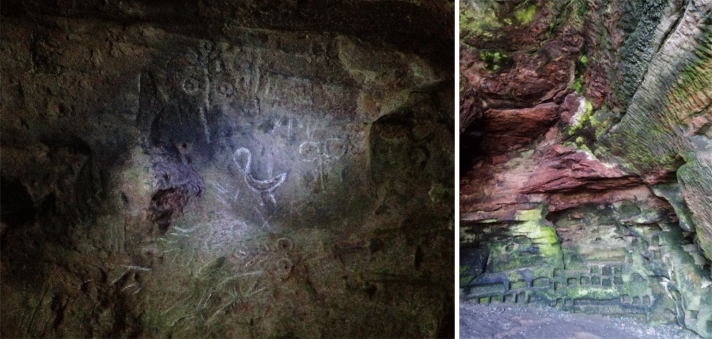 Composite image of two photographs of caves showing on the left: a rockface in a dark cave, with a light shining on it to reveal several stylized Pictish carvings, including a swan and paired circles (the double disc symbol). On the right: the interior of a sandstone cave with square boxes and ledges cut into the cave wall