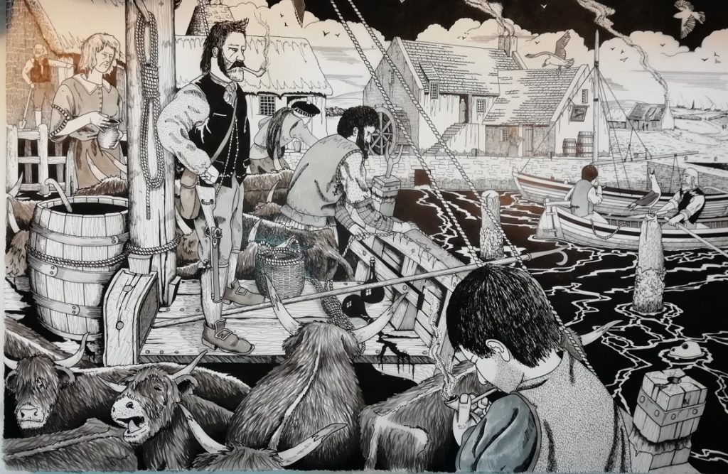 A pen and ink drawing of a ship loaded with cattle docking against a sea wall with a mill with a waterwheel and other buildings on the riverbank