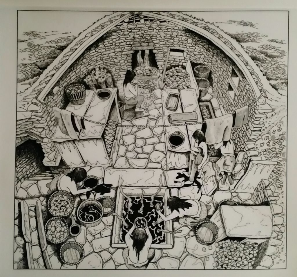 A black and white cutaway drawing of a stone building with a flagstone floor and a fire at one end tended by a person, and a tank full of steaming water set into the floor with two further people bending over it. To the left of this a figure climbs up a flight of steps from below carrying a bowl of water, and another figure dries themselves with a towel. Compartments made of large flagstones line the walls