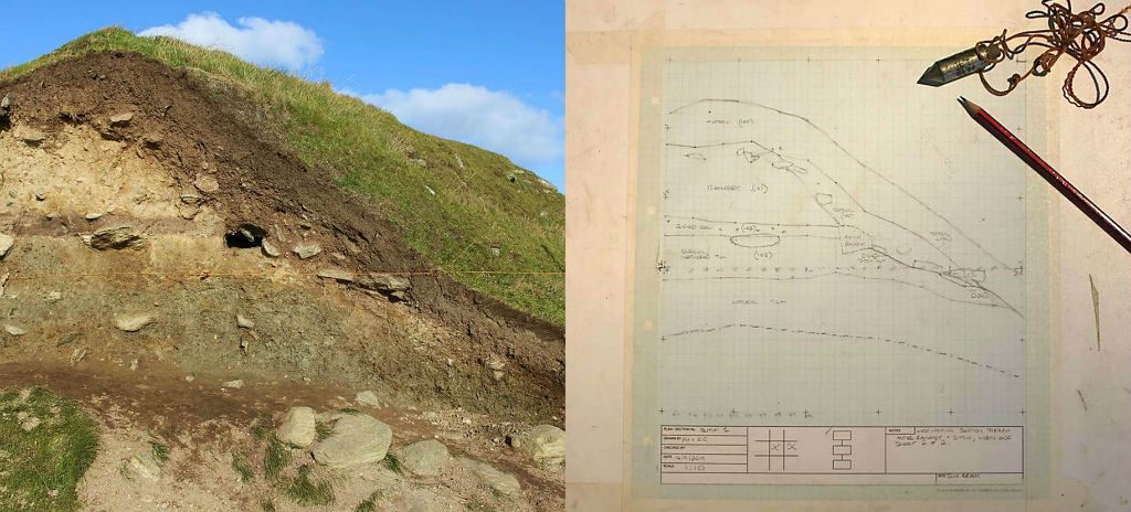 Two images side by side. Photo on the left shows a section across an earthwork bank. Photo on the right shows a scale drawing of the same section taped onto a drawing board with pencil and plumb bob lying in the corner