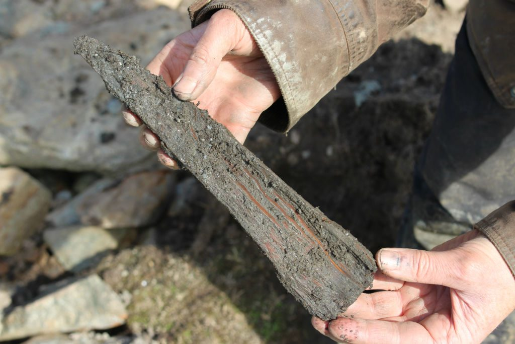 Close up of hands holding a wedge-shaped wooden object covered in mud