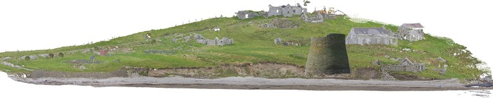 A digital landscape model of a grassy slope leading down to a beach with several ruined stone buildings on the slope and a high circular stone tower superimposed on the coast edge