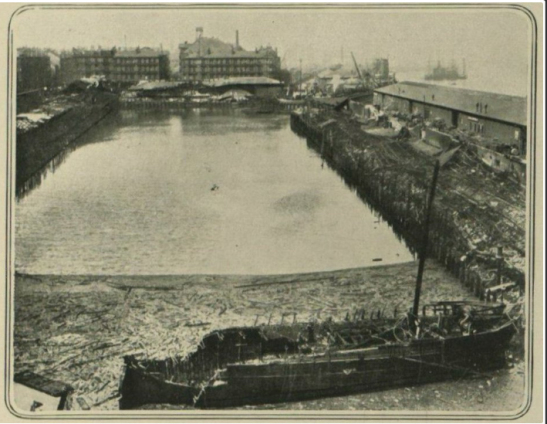 Image of burned ship at Kingston Dock, 1914