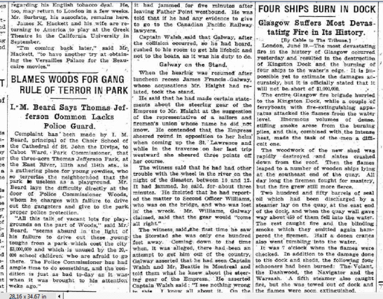 Article in New York Tribune about June 1914 fire atGlasgow's Kingston Dock, and the loss of four schooners.