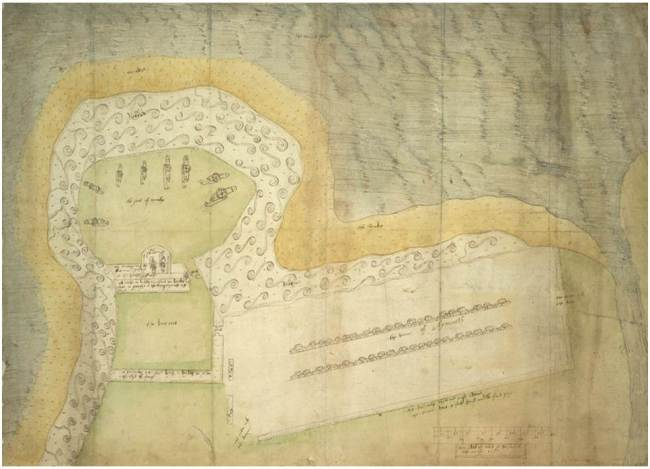 1557 spy plan of Eyemouth fort showing the defences and cannon on the fort and the town.