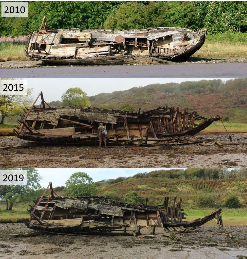Three photos of the boat from the same angle, showing the deck. The top one labelled 2010 shows it mostly intact, the middle one labelled 2015 shows the forward half of the deck gone and the hull collapsed around the bow to leave timbers on the ground, and the bottom photo labelled 2019 shows lost of the forward art of the hull gone except for a few ribs and the stem post. All of the deck is gone around the bow, collapsed around the midship area with only a small patch of deck planking around the stern
